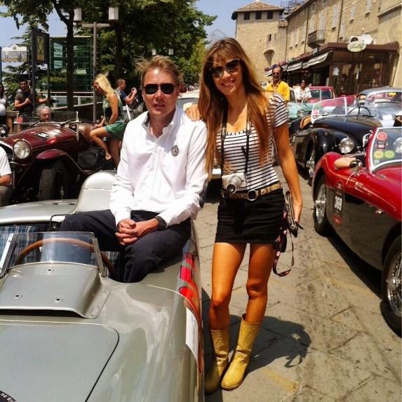 Beertje van Beers with Mika Hakkinen during Mille Miglia.