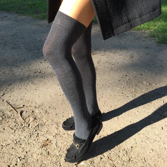 Beertje van Beers wearing Falke socks and Gucci loafers